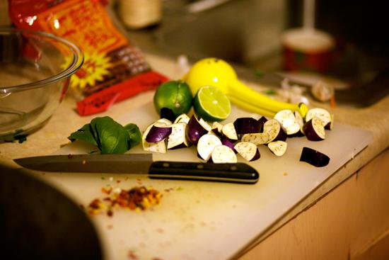 Preparing the eggplant